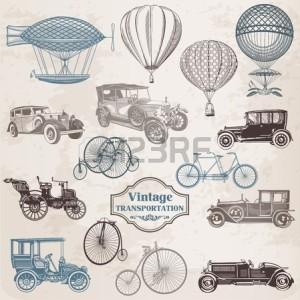 13101911-vector-set-vintage-vervoer--collectie-van-ouderwetse-illustraties